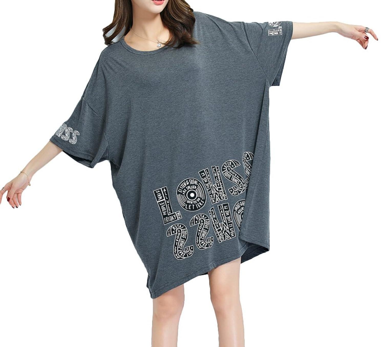 Brinny Damen Sommer Tunika Shirtkeid Longshirt TOPS Einheits-Größe Oversize