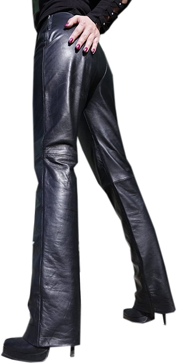 Erogance S44 Pantalon en cuir nappa dagneau avec fermetures /Éclair lat/érales