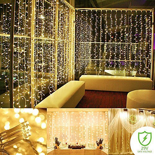 - ADDLON String Lights Starry Curtain lights Waterproof Wall Lights 300 LED Fairy Lights 8 Modes Decorative Lights For Wedding Bedroom Holiday Party Indoor UL Certification (Warm white)
