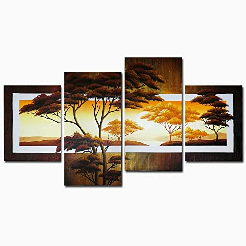 Wieco Art Beautiful Sun Trees Oil Paintings on Canvas Wall Art Ready to Hang for Living Room Bedroom Home Decorations Modern 4 Piece Stretched and Framed 100 Hand Painted Pretty Landscape Artwork