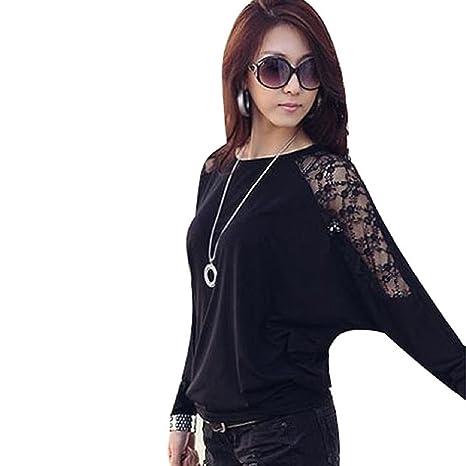 Malloom®Mujer manga larga casual batwing dormán encaje suelto blusas Camiseta Tops (negro,