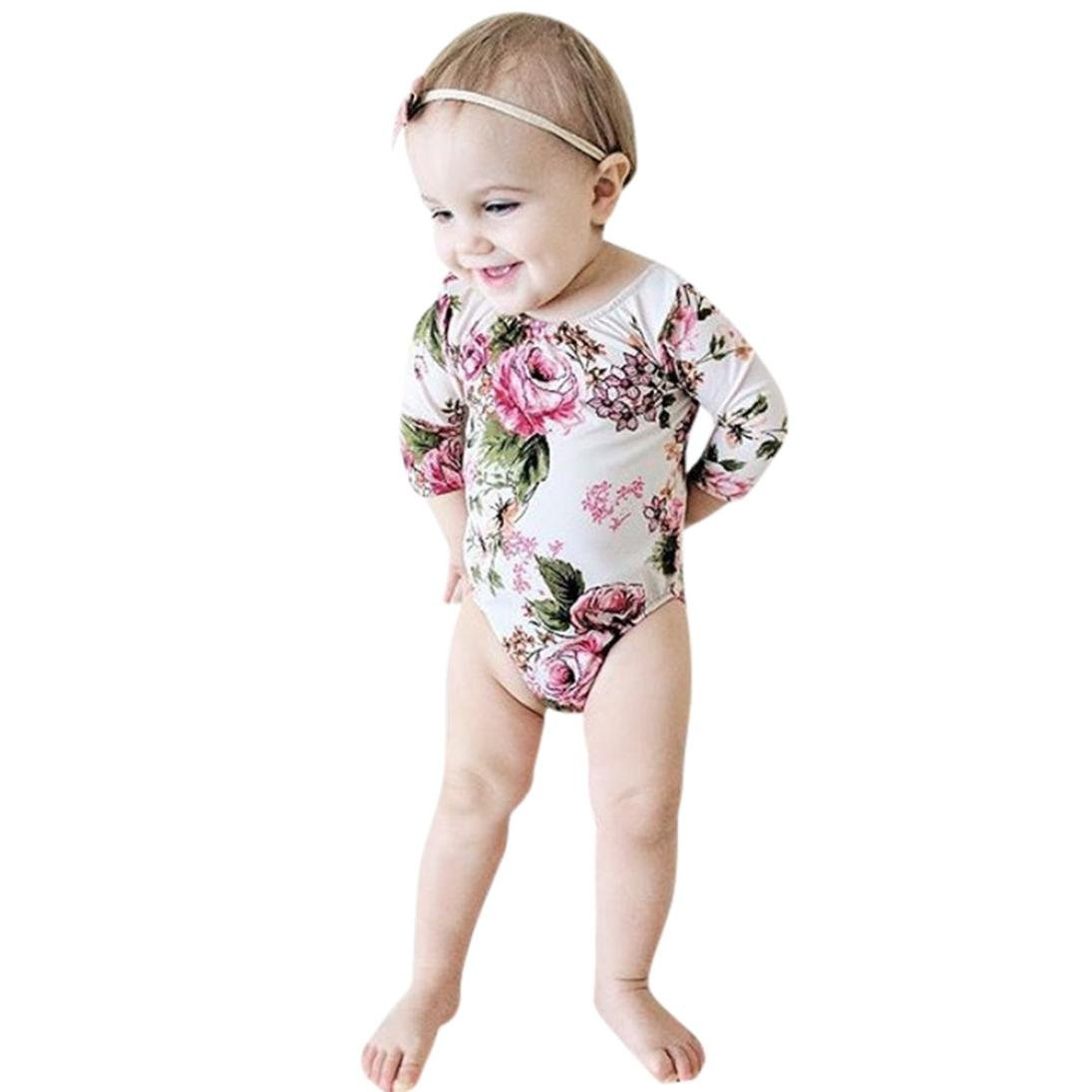 ANBOO Newborn Toddler Baby Girls Floral Print Romper Jumpsuit Outfits Clothes
