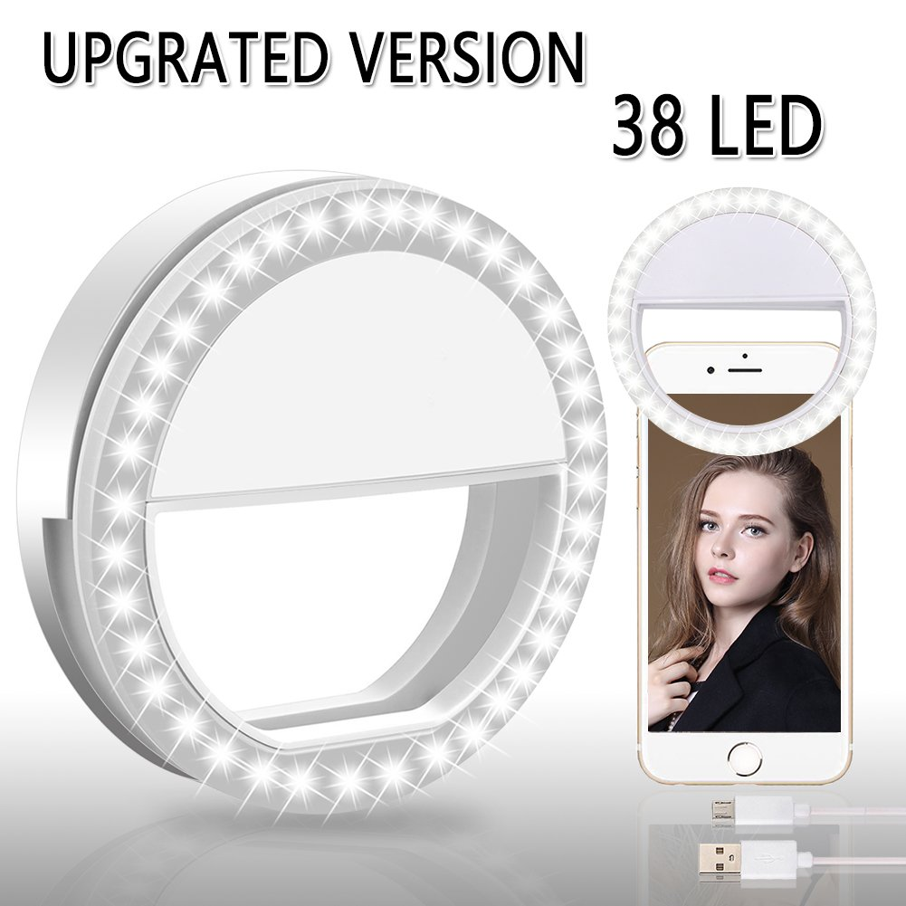 BMK Selfie Ring Light Clip Rechargeable 38 LED Bulbs Adjustable Selfie Lighting Portable for iPhone, Tablet, iPad, Laptop, Camera (White)