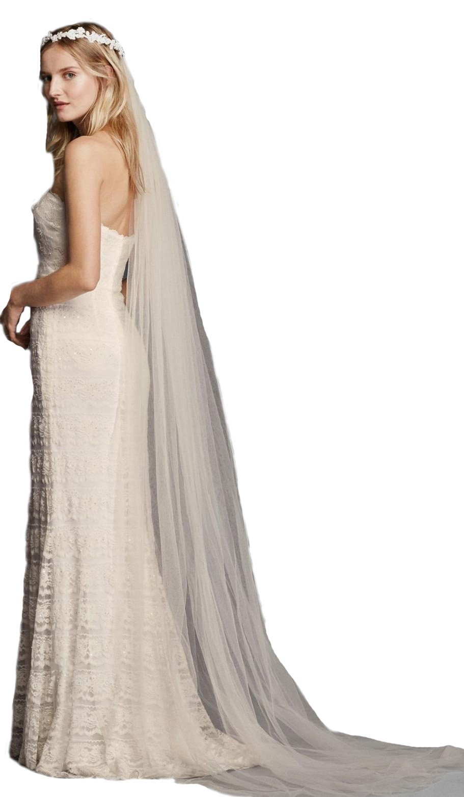 Passat Diamond White Single-Tier 3M Cathedral Halo Wedding Bridal Veil DB64 by Passat