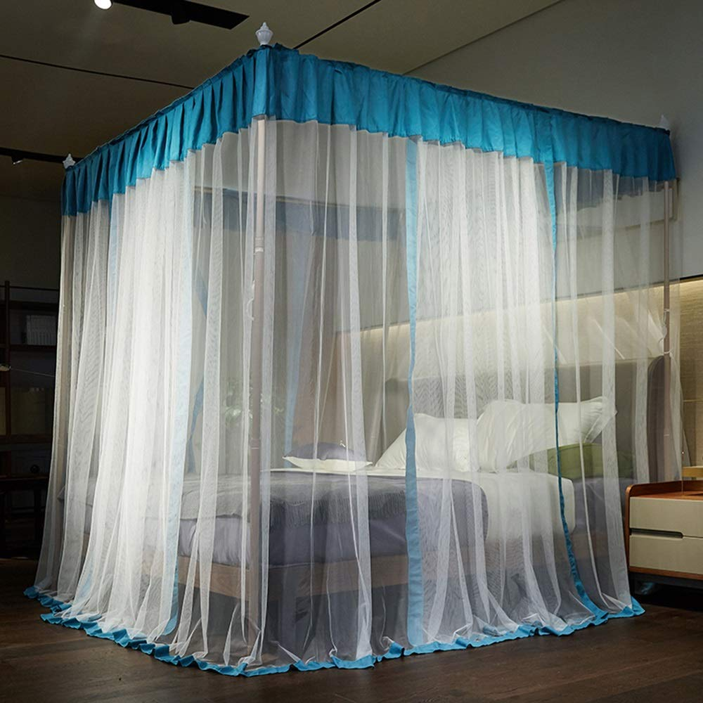 XRXY Mosquito Net Mosquito Net, Palace Floor-Standing Mosquito Net, 1.5m/1.8m Bed Double Household Support Mosquito Net, Three-Door Encryption Thicken Mosquito Net, 4 Colors (Color : C, Size : 1.5M)