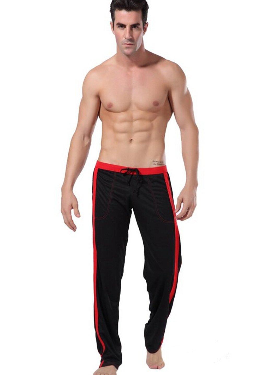 BellyLady Men's Long Low Rise Mesh Sports Sweatpants Front Tie Rope L