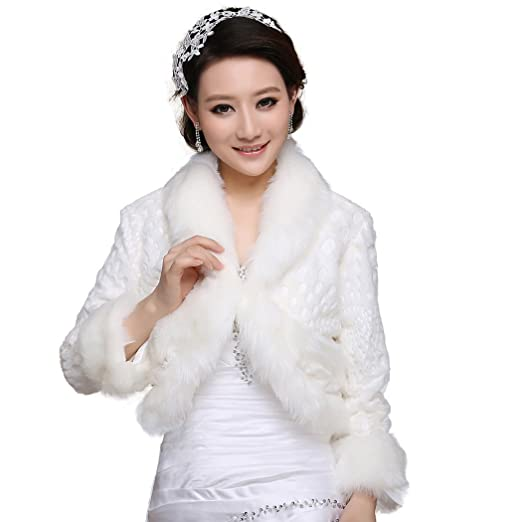 2e78a15fb NYARER Women's Faux Fur Wrap Cape Stole Shawl Bolero Jacket Coat Shrug For Wedding  Dress Winter 17019, White at Amazon Women's Clothing store:
