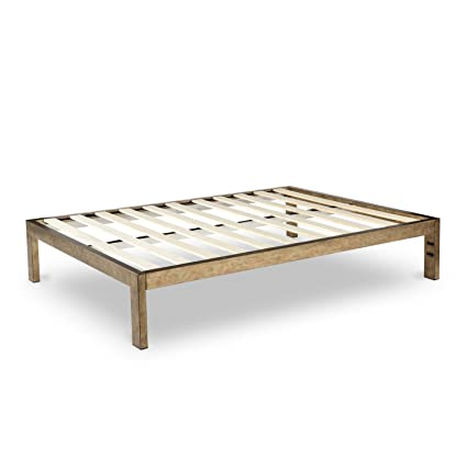 The Frame Gold Brushed Steel Platform Metal Bed Mattress Foundation No Boxspring