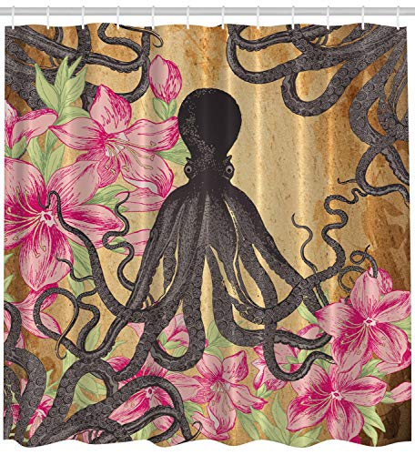 (Ambesonne Kraken Octopus Roses Leaves Tentacles Octopi Vintage Antiqued Look Home Fashion Bathroom Textiles Decor Print Polyester Fabric Shower Curtain, Pink Charcoal)