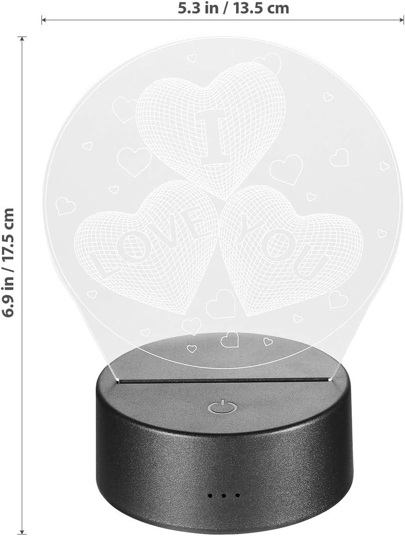 7/couleurs interchangeables Lampe Ledmomo/-/C/œurs en 3D/-//À LED USB t/él/écommande/-/Romantique