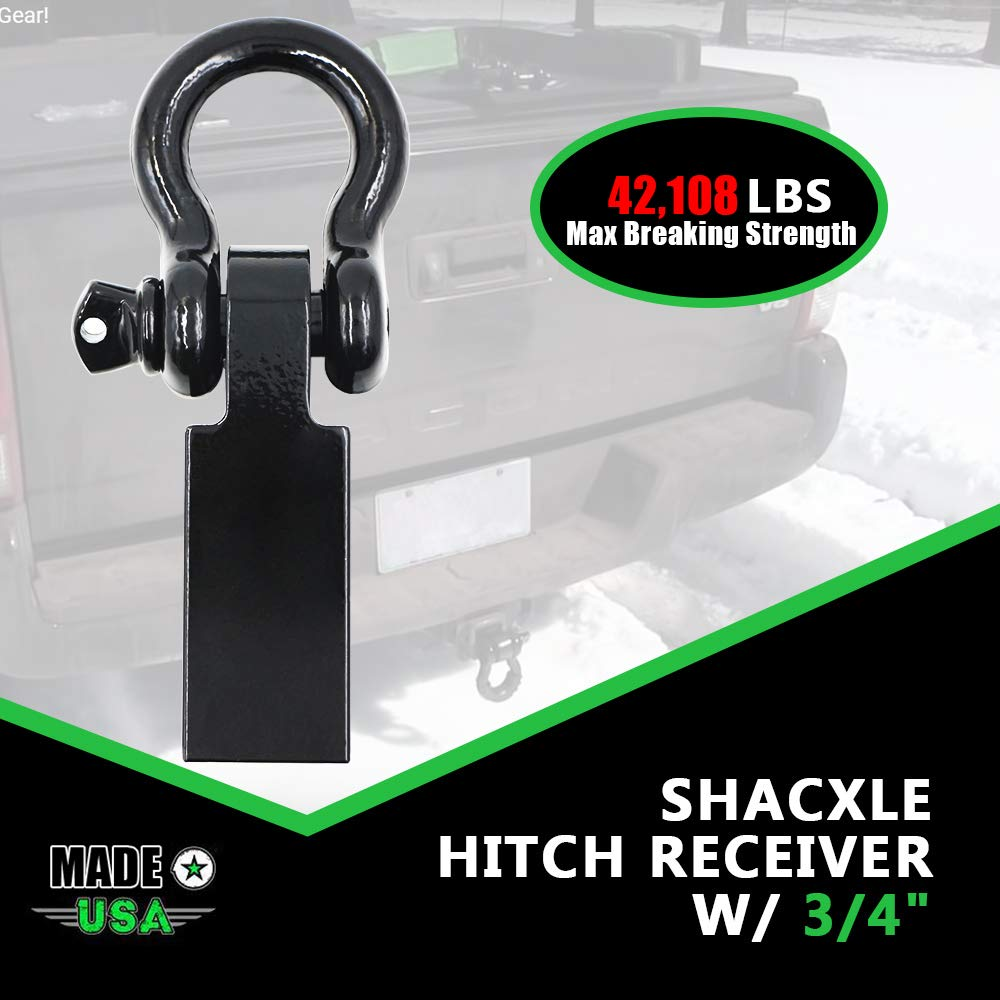Shackle Hitch Never Rust Receiver, Best Towing Accessories for Trucks & Jeeps, 42,108 lbs Max Capacity, 2'' Receivers, Shackle Bracket Heavy Duty and Solid with 3/4'' D Ring Shackle! by hikotor