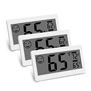 Digital Thermometer Indoor Hygrometer Room Temperature Monitor Humidity Gauge with Big Screen Stand Wall Hanging Magnet Greenhouse House Kitchen Car (3 Pack)