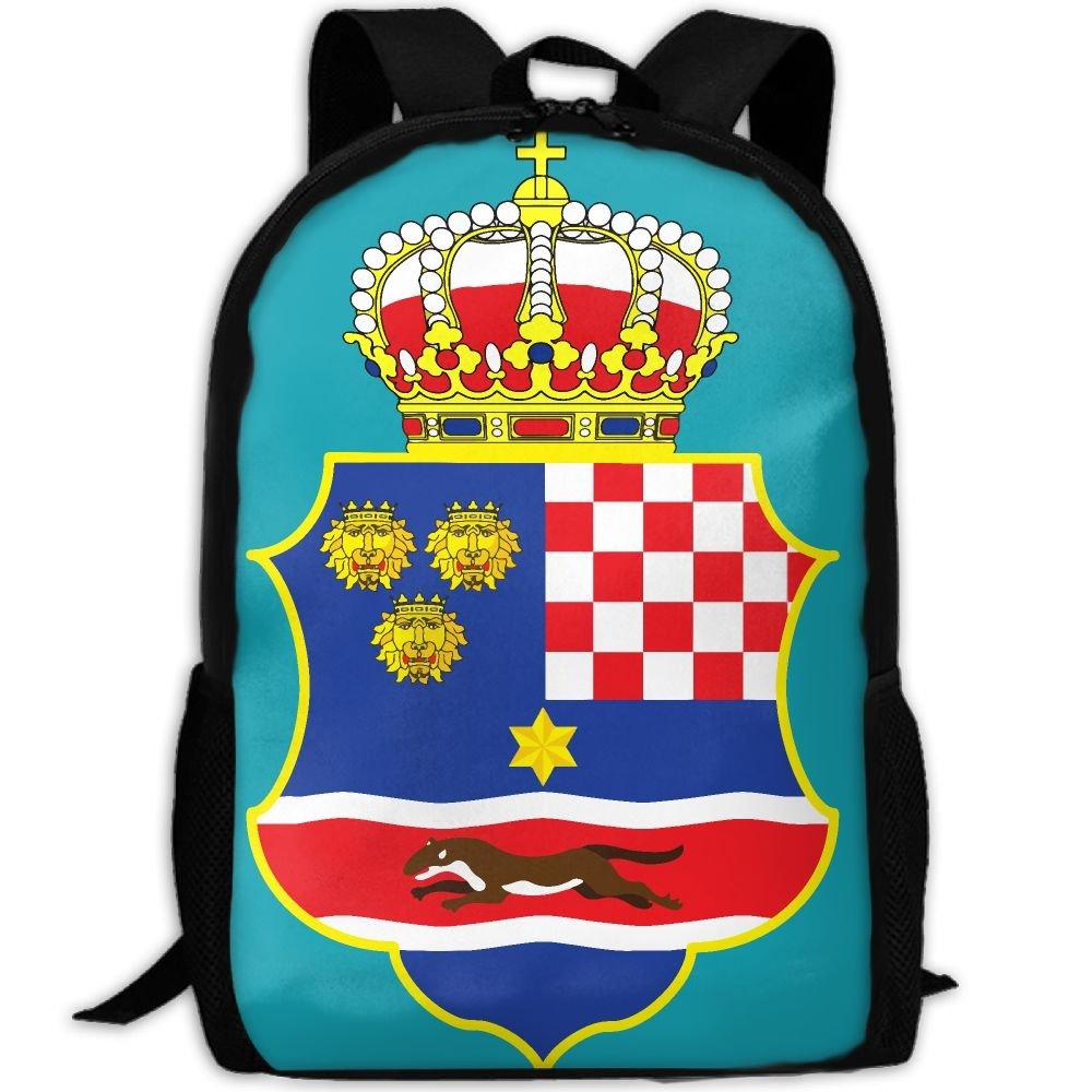 zqbaad Coat of Arms of the Kingdom of Croatia Luxury印刷メンズレディース旅行ナップサック B07FGFY3MC