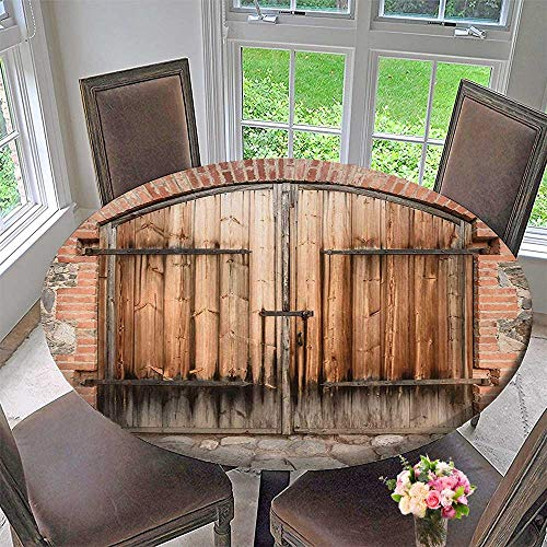 (Mikihome The Round Table Cloth Door of a Stone with Wrought Iron Elements Tuscany Brown Grey for Birthday Party, Graduation Party 55