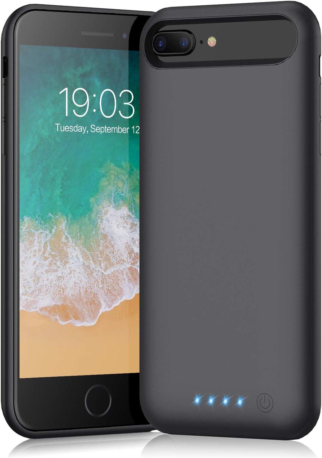 Battery case for iPhone 8 Plus/7 Plus/6 Plus/6s Plus,Xooparc 8500mAh Charging Case Portable Charger Case Rechargeable Extended Battery Pack for 6s Plus/ 6 Plus/ 7 Plus/ 8 Plus(5.5') Backup (Black)