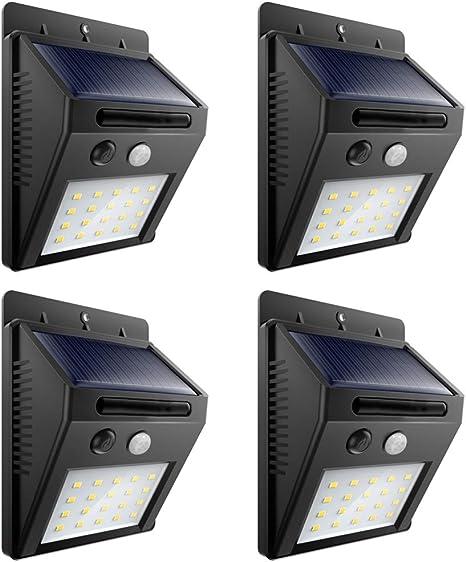 Luces Solares Al Aire Libre 20 Luces Led Inalámbricas Impermeables Con Sensor De Movimiento Para Exteriores Con 3 Modos De Trabajo Para Patio Terraza Patio Jardín 4 Unidades Home Improvement