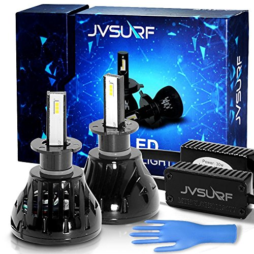 8000 Lumens LED Car Headlight Bulbs Conversion Kit JVSURF Extremely Bright Headlamp - H11 (H1,H3, H4,H7) - 30W, 6000K Cool White CREE and Far Dual Use- 2 Yr Warranty (H3, Black)