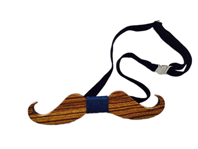 923e5605ec05 Hello Tie Men's Handmade Creative Gift Mustache Shape Real Wood Bow Tie