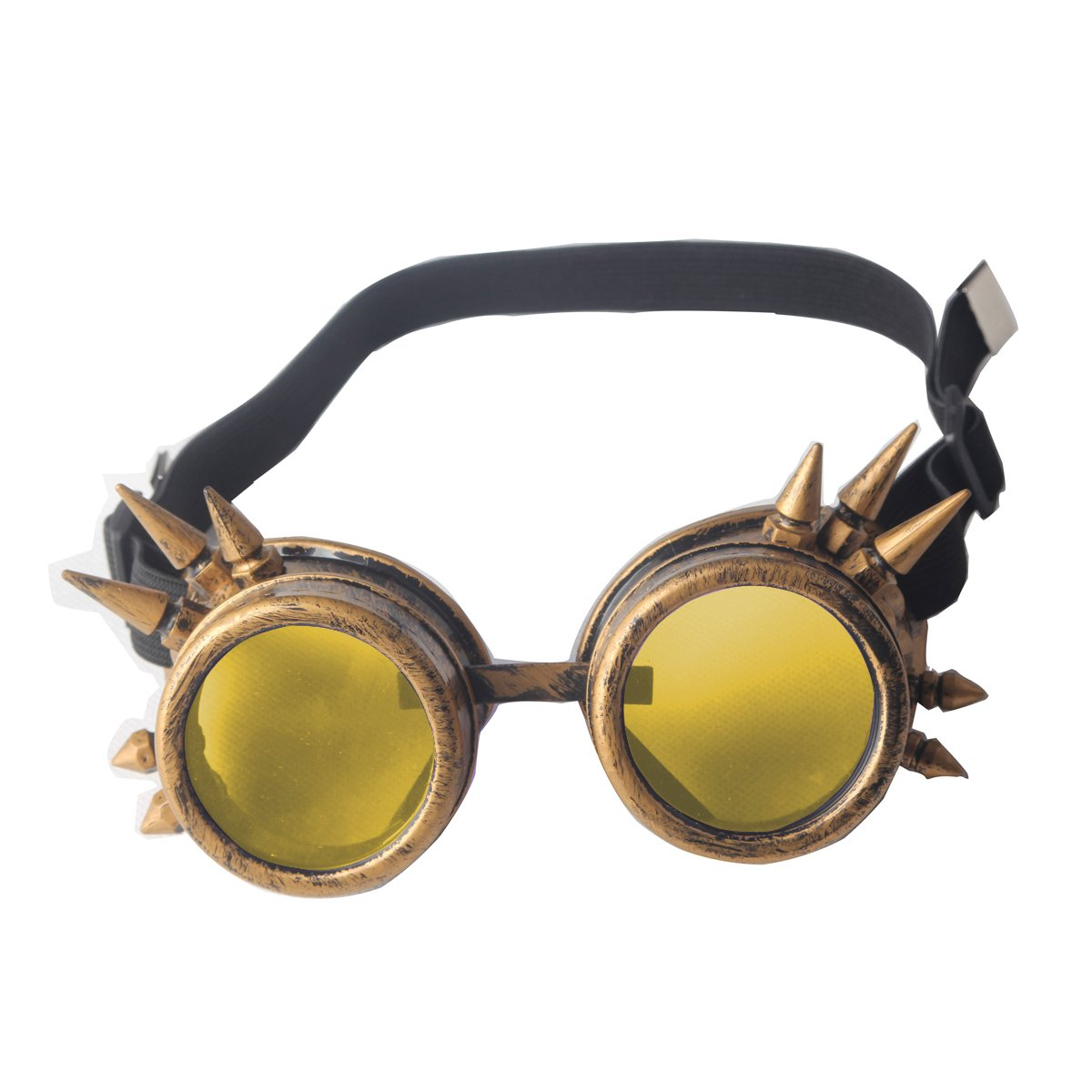 Halloween Cosplay Goggles, Spiked Retro Glasses Free Lens Steampunk Goggles G003-B-2+G004-BL-7*2