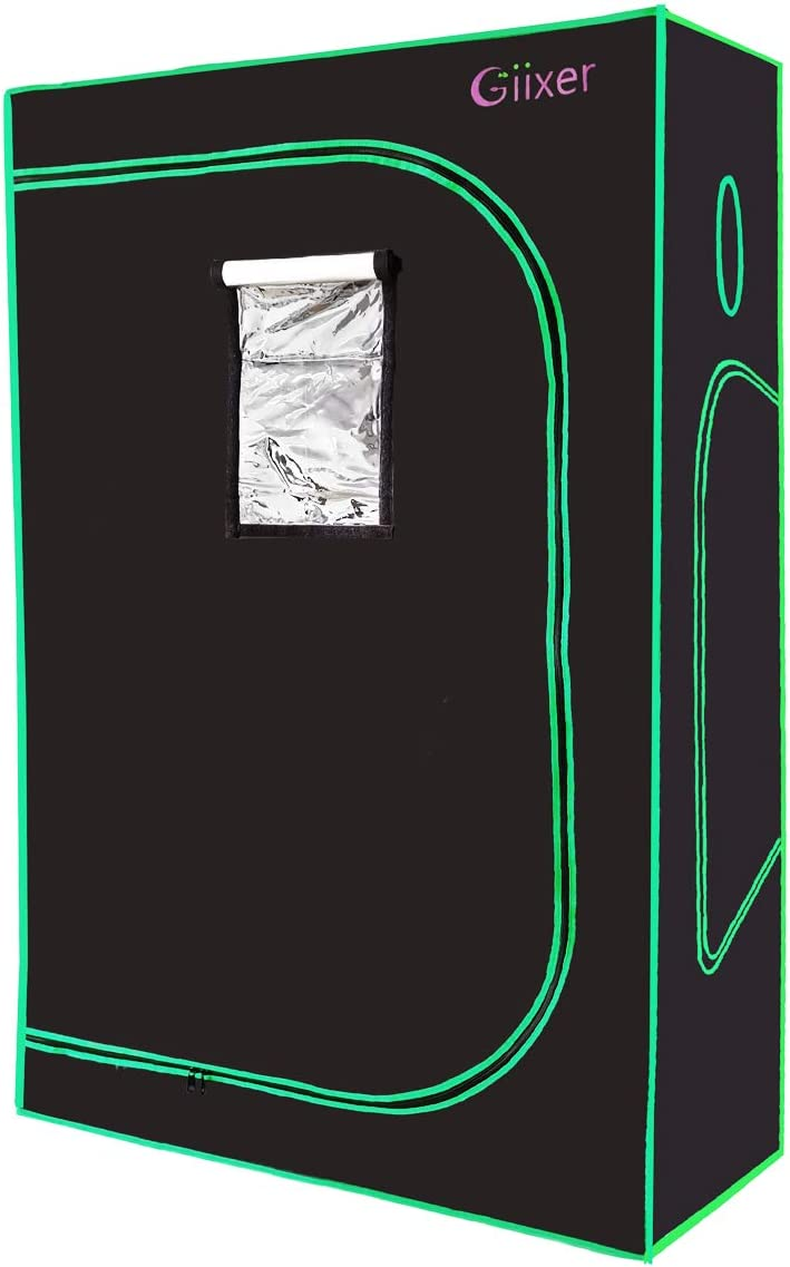 Giixer 4×4 Grow Tent 600D Mylar Hydroponic Grow Tent with Observation Window and Floor Tray for Indoor Plant Growing 48 x48 x80 Grow Cabinet for 8 Plants