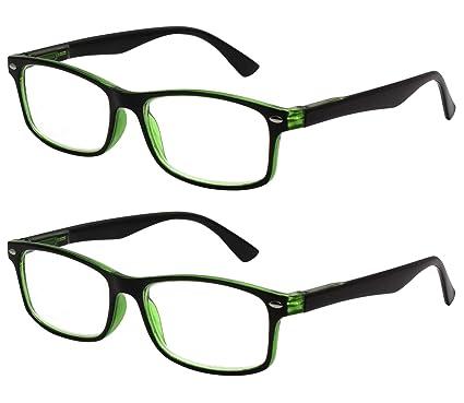 TBOC Gafas de Lectura Presbicia Vista Cansada - (Pack 2 Unidades) Graduadas +2.00 Dioptrías Montura de Pasta Bicolor Negra y Verde Hombre Mujer Unisex ...