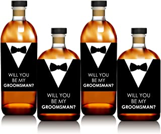 product image for Suit Up - Will You Be My Groomsman Gift for Men - Whiskey or Wine Bottle Label Stickers - Set of 4