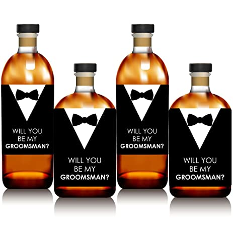 Suit up will you be my groomsman whiskey or wine bottle label stickers set
