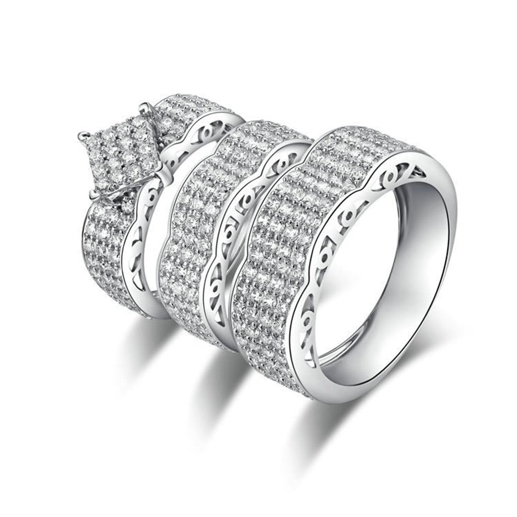 AmDxD Jewelry Silver Plated Men Customizable Rings Square CZ Triple Rings Size 11.5 by AMDXD