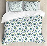 Kitchen Wall Duvet Cover Set King Size by Ambesonne, Fresh Blueberries Ripe Juicy Fruits Summer Organics Food Painting Style, Decorative 3 Piece Bedding Set with 2 Pillow Shams, Blue Green White