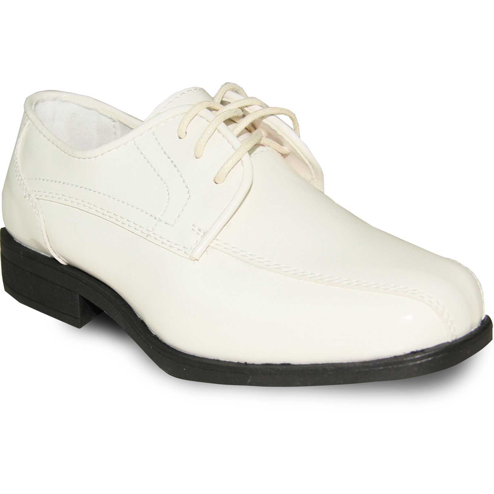 JEAN YVES Boy Dress Shoe JY02KID Double Runner Tuxedo for Wedding, Prom and Formal Event Ivory Patent 5Y