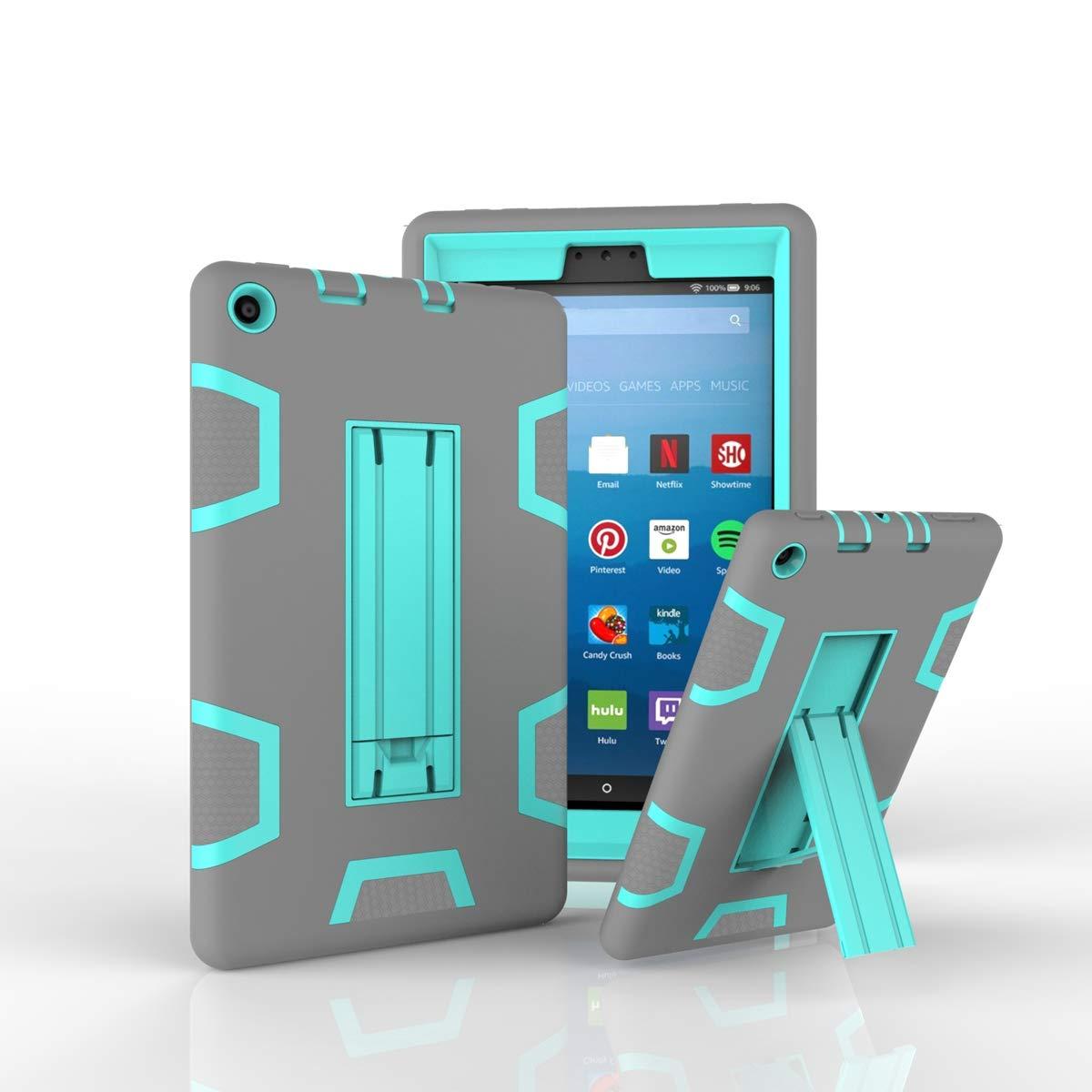 最先端 Happon 02I1-TO-840 Amazon Kindle 8インチ Fire 8インチ 2017ケース Kindle スリム落下保護カバー, 02I1-TO-840 Grey + Aqua B07L4FDF9G, アショログン:7740eac1 --- a0267596.xsph.ru