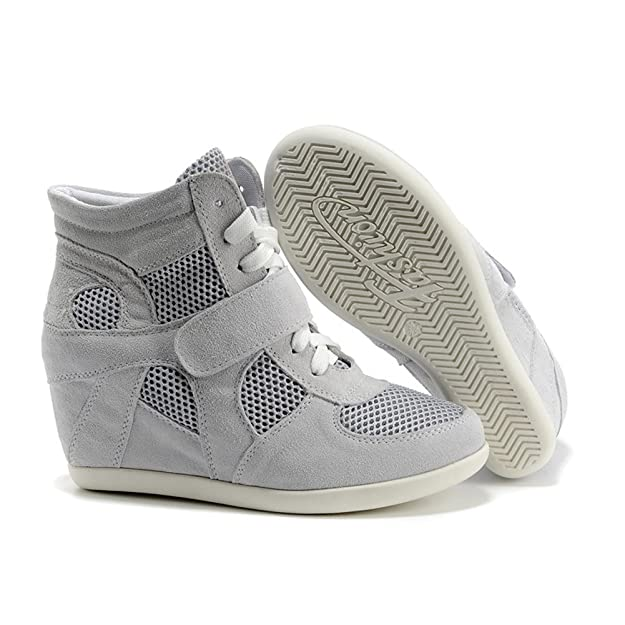 Rismart Mujer Zapatos Formal Oculto Tacón Cu?a Gamuza Tela Zapatillas (Rojo,EU38)