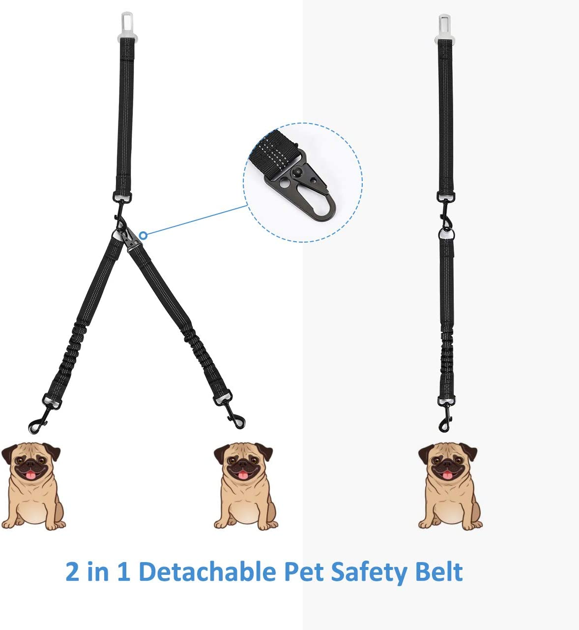 2 in 1 Detachable Dog Seat Belt Suitable for Most Vehicles Travel and Walking OMORC Car Seat Belt for Dogs 28-33 inch Pet Dog Car Safety Harness Elastic Shock Absorption Reflective Weave Design