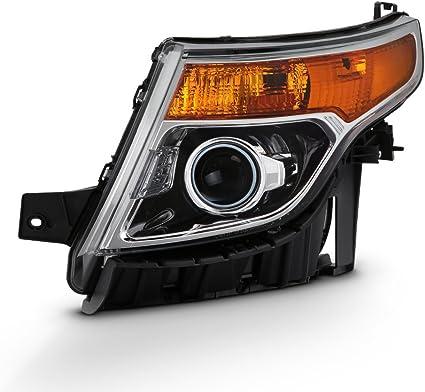 For 2011-2015 Ford Explorer Black Headlight Amber Corner Projector Headlamps