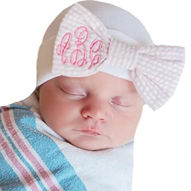 9fc883d76b7 Image Unavailable. Image not available for. Color  Melondipity Seersucker  Monogrammed Bow on White Newborn Nursery Hat