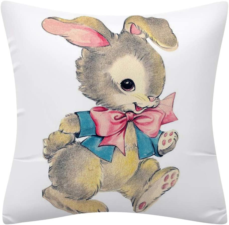 Easter Rabbit with Egg Home Decor Pillow Covers Easter Bunny Vintage Graphic Cotton Linen Throw Pillow Case Cushion Covers 18x18 inch