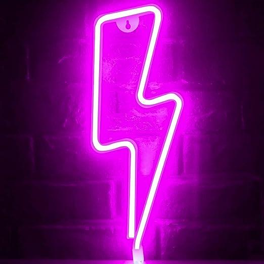 Funpeny Lightning Neon Signs, LED Ramadan Festival Pink Lightning Neon Lights, Decor for Table,Desk,Indoors,Home Bedroom Decorations USB Charging & Battery