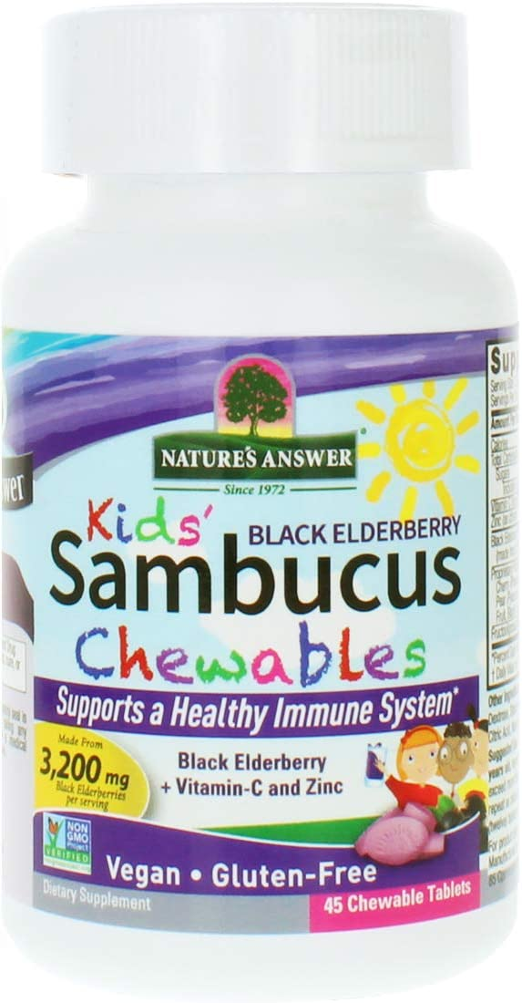 Nature s Answer Kids Sambucus Chewables Black Elderberry with Vitamin C and Zinc Great Tasting Vegan Support Gluten Free Ideal for Healthy Immune System Elderberry 45 Tablets