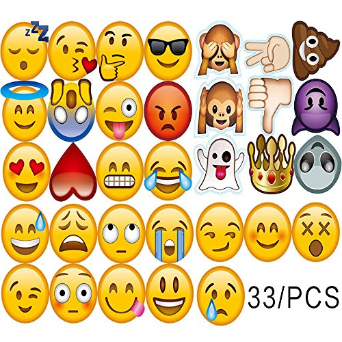 33 Pcs Emoji Photo Booth Props DIY Kit for Wedding Birthdays (Diy Photo Props)
