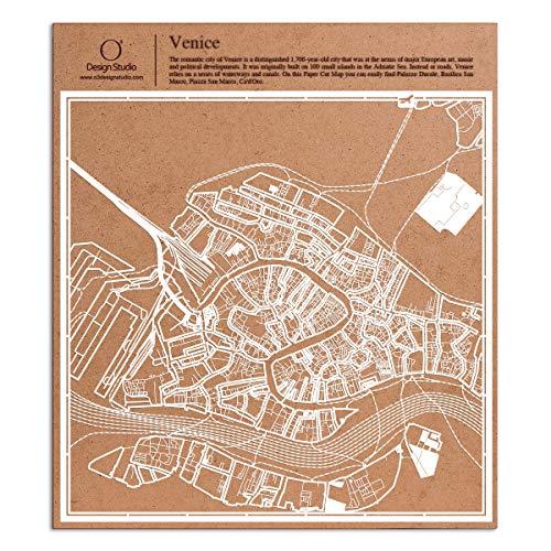 O3 Design Studio Venice Paper Cut Map White 12x12 inches Paper Art
