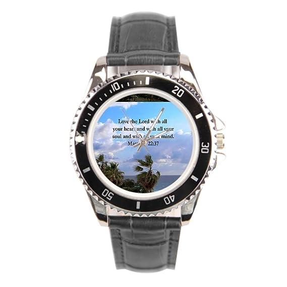 findself Hombres del libro de Mateo Matthew 22 versículo mejores marcas reloj de pulsera correa de piel: Amazon.es: Relojes