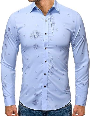 Camisa Formal Casual para Hombre Slim fit Shirt de Playa de Fiesta Camisas de Manga Larga con Estampado de Diente de león cómoda y Delgada Top: Amazon.es: Ropa y accesorios