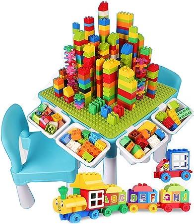 Mesa de Juego Mesa De Bloques De Construcción para Niños Mesa De Juguetes Multifuncional Juego De Cerebro Juguetes De Educación Temprana Regalo para Niños (Color : Green, Size : 45 * 45 * 43cm): Amazon.es: Hogar