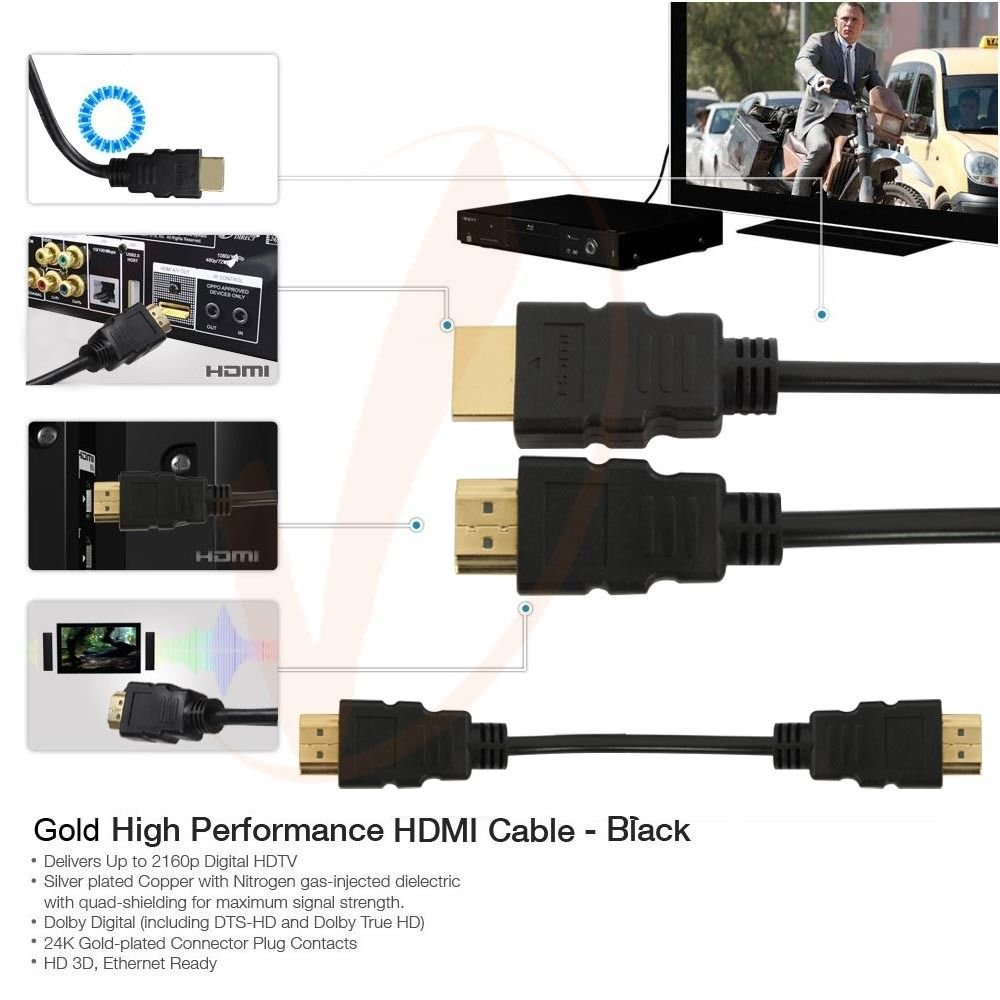 CableVantage 50FT 50 FT HDMI Cable, HDMI Cable HDMI-50FT Gold-Plated High Speed HDMI Cable [4K Resolution | Support 3D | Ethernet | Audio Return] For PS4 Xbox One PC HDTV