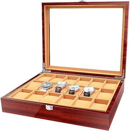YF-Watch Boxes Caja de Reloj de Madera con 18 Ranuras para Guardar Joyas, con Parte Superior de Cristal y Caja de colección de Almohadas de Almacenamiento: Amazon.es: Hogar
