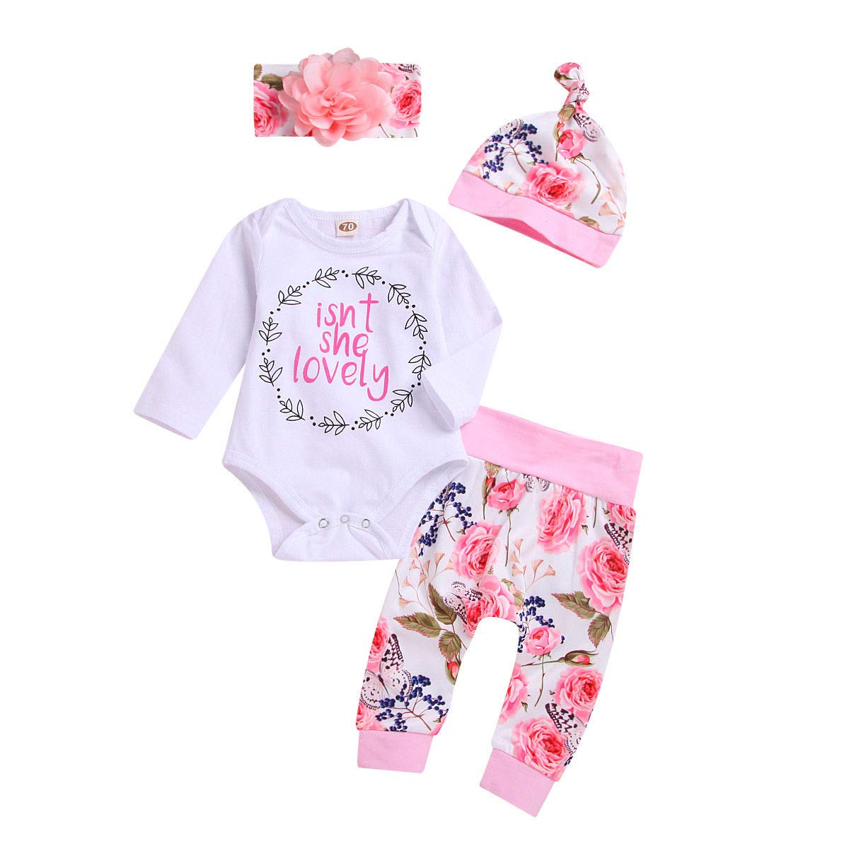 Newborn Baby Girl Isnt She Lovely Outfit Clothes White Romper Bodysuit Top Floral Pants Set with Headband Hat 4Pcs Clothing