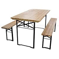 MobEventPro Set brasseur Table et 2 bancs en Bois 180 cm