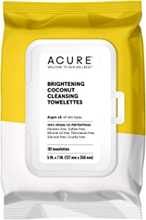 product image for ACURE Brightening Coconut Cleansing Towelettes | 100% Vegan | For A Brighter Appearance | Argan Oil - Gently Removes Makeup and Cleanses | Simply Wipe & Go | All Skin Types | 3 Pack