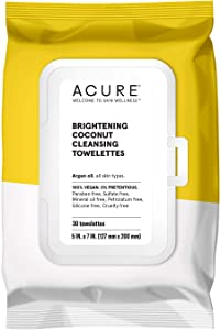 ACURE Brightening Coconut Cleansing Towelettes | 100% Vegan | For A Brighter Appearance | Argan Oil - Gently Removes Makeup and Cleanses | Simply Wipe & Go | All Skin Types | 3 Pack