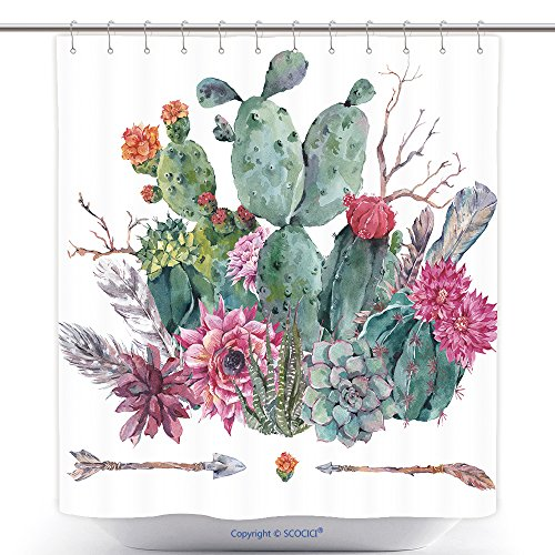 Pottery Barn White Cat Costume (Decorative Shower Curtains Exotic Natural Vintage Watercolor Bouquet In Boho Style Cactus Succulent Flowers Twigs 453676282 Polyester Bathroom Shower Curtain Set With Hooks)